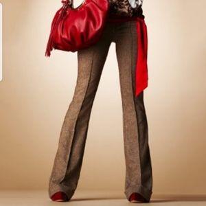 Bebe Tweed Wide Leg Trousers in Chocolate